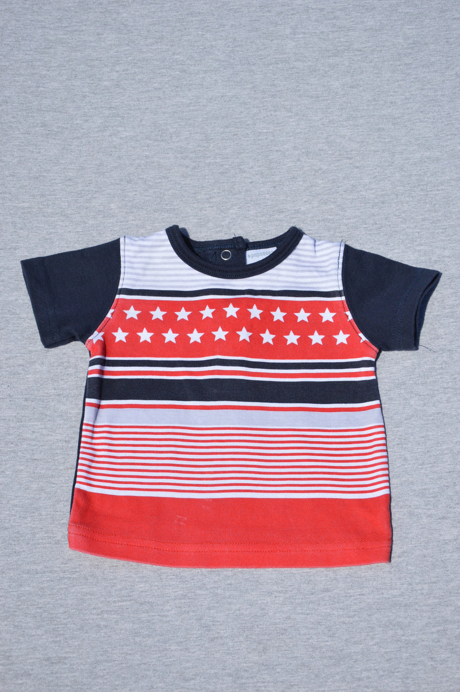 Papoose - nearly new - navy patterned t-shirt, size 6-12m