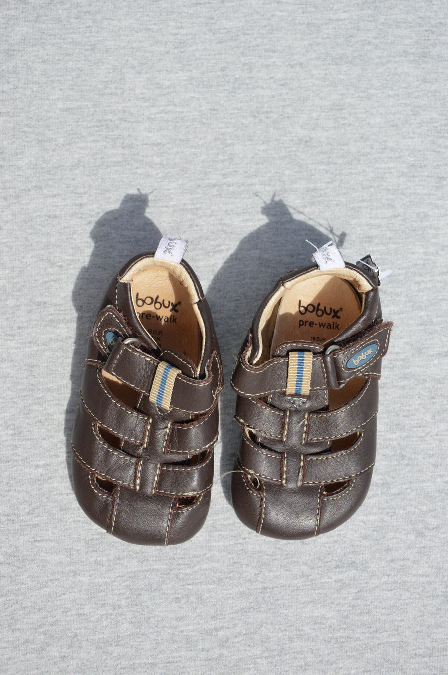 Bobux - nearly new - brown pre-walk sandals, size NZ 2