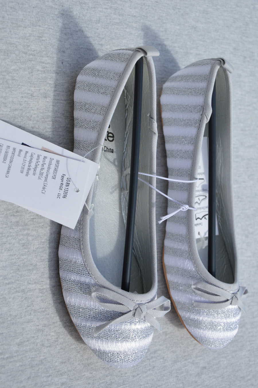 Charlie & Me - brand new - silver & white ballet shoes, size NZ 2