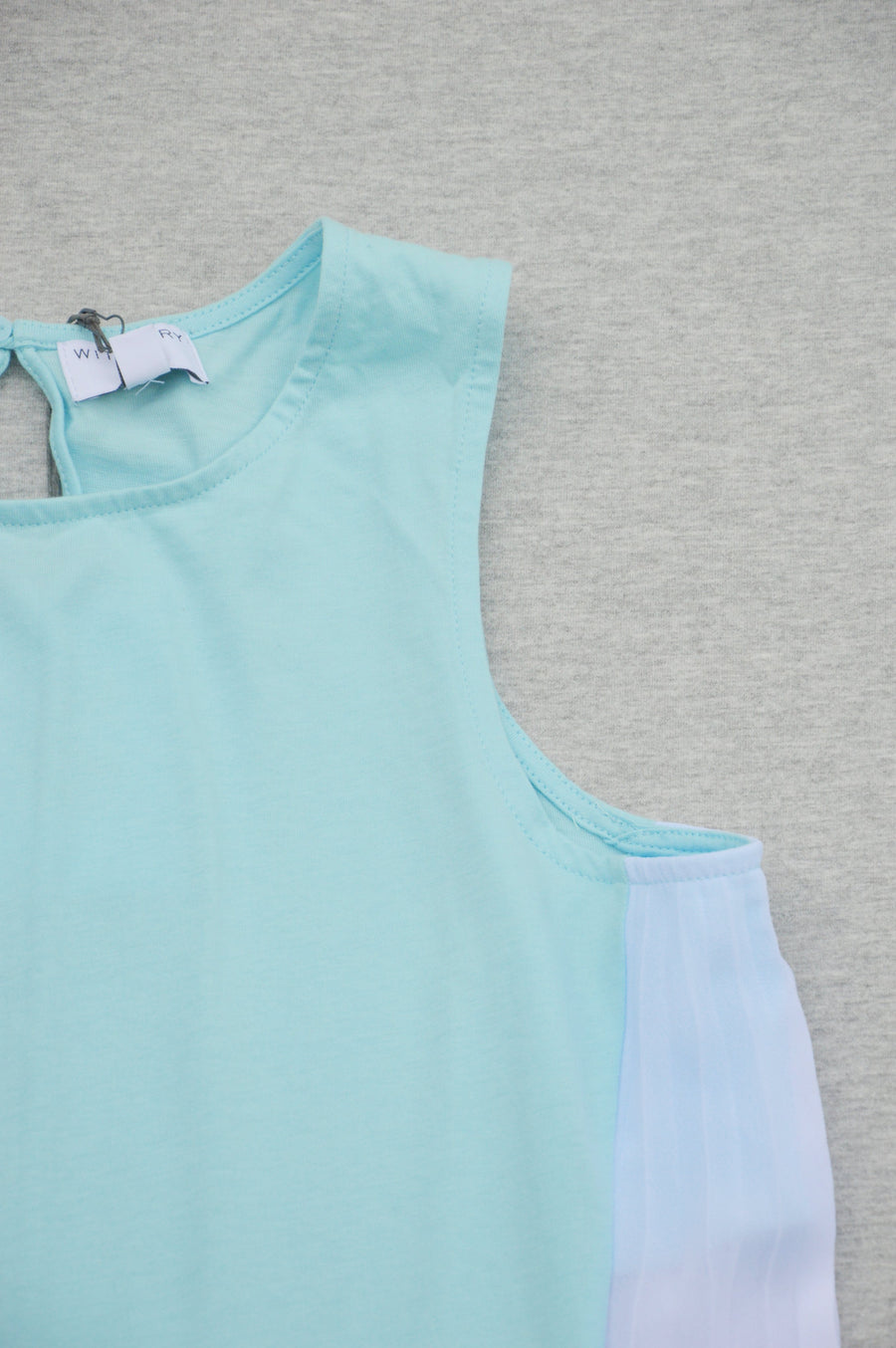 Witchery - brand new - aqua-green side-pleat tank, size 12Y