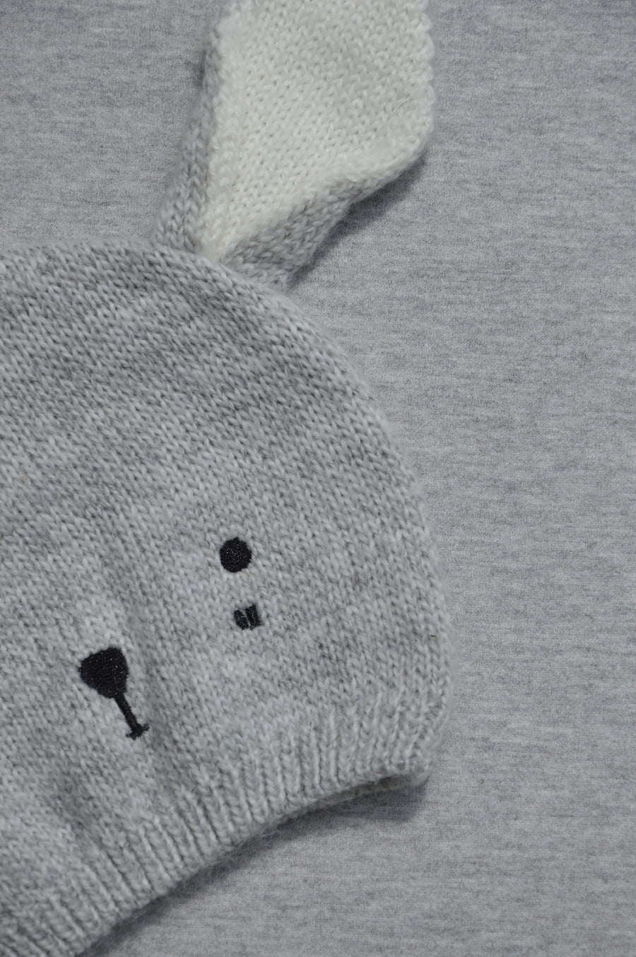 Cotton On - nearly new - grey bunny beany, size 3-6m