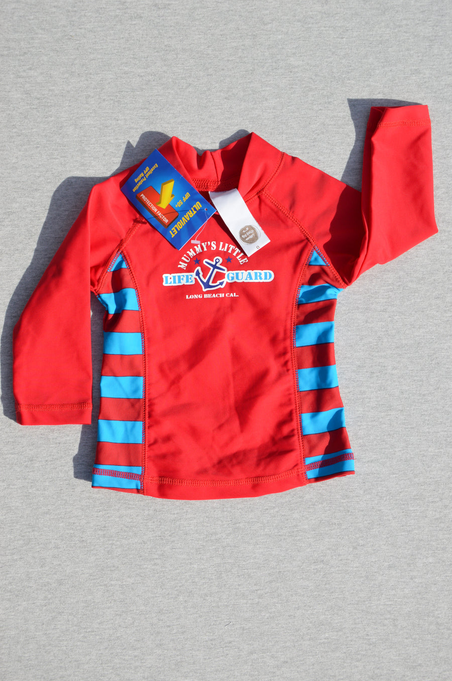 Tiny Little Wonders - brand new - red long-sleeved rash vest UPF 50+, size 6-12m