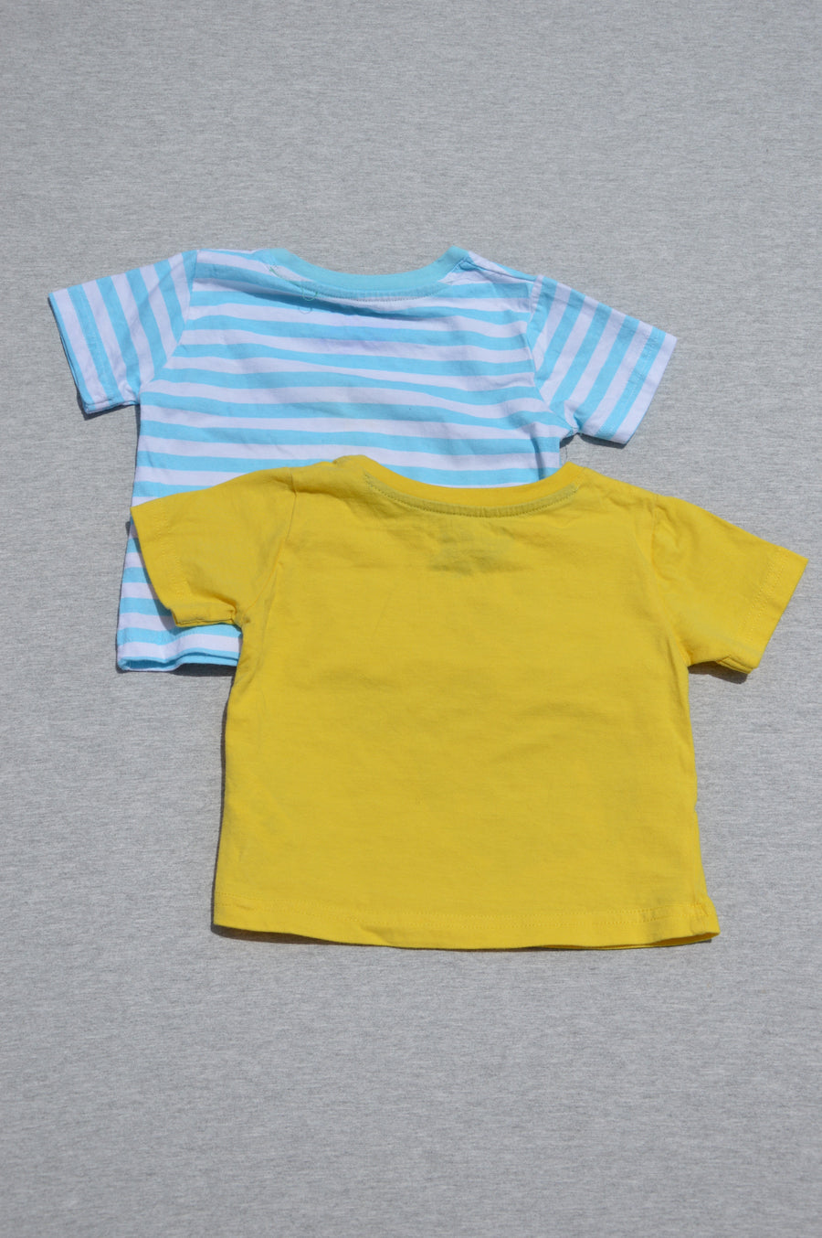 Little Rebel 2 x yellow & turquoise & white striped t-shirt, size 3-6m