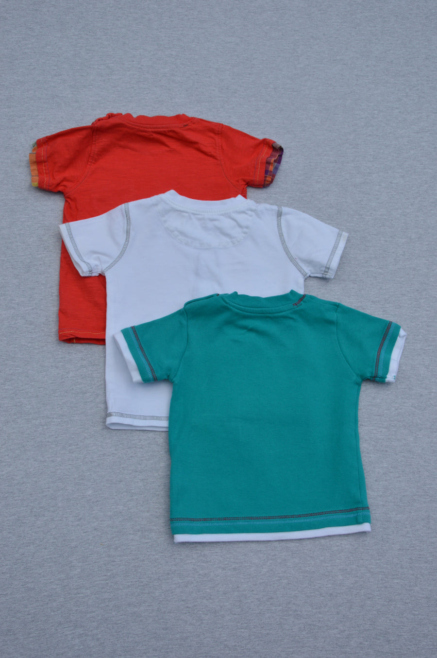 George 3 x red, green & white short-sleeve t-shirts, size 12-18m