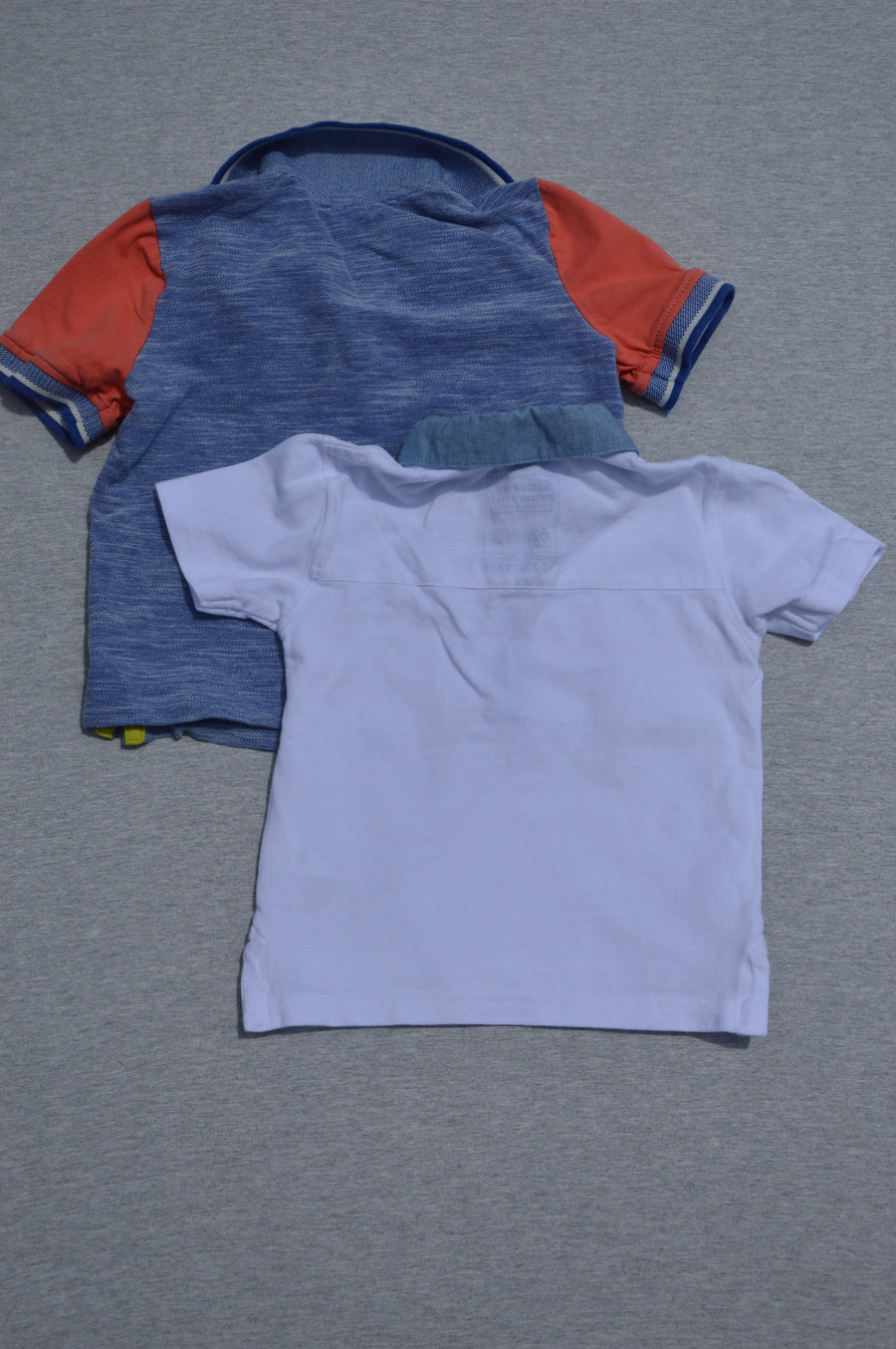 Mini Club & Next  - nearly new - 2 x white & blue marle short-sleeve polo shirts, size 9-12m