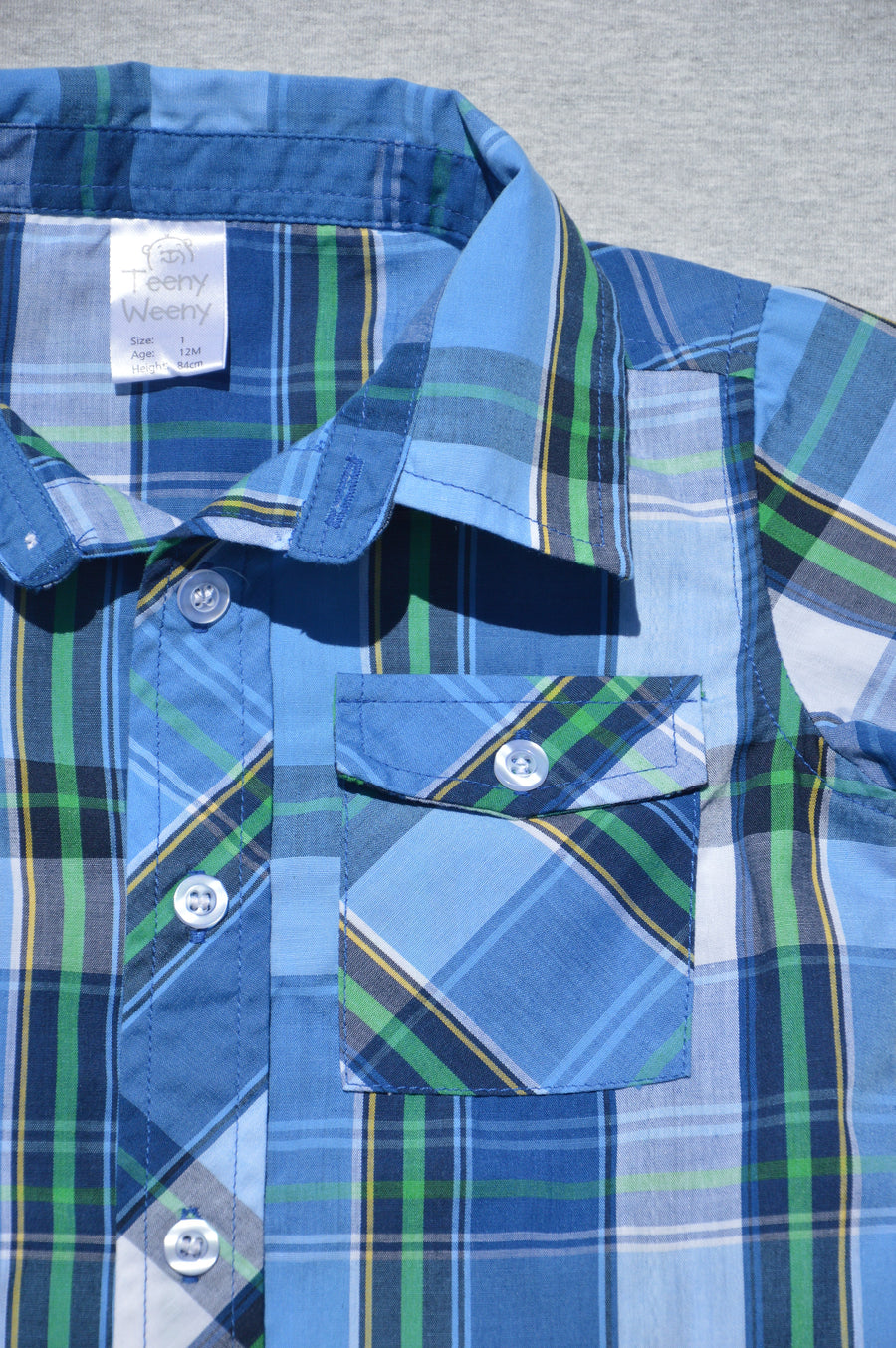 Teeny Weeny - nearly new - blue, green & white checked short-sleeved shirt, size 12m