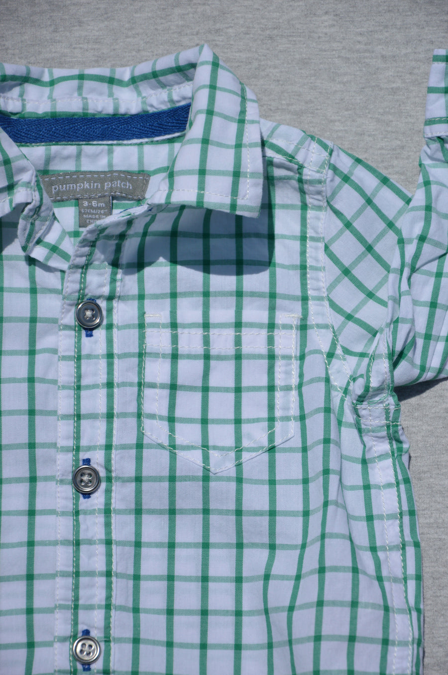 Pumpkin Patch - nearly new - green & white checked long-sleeved shirt, size 3-6m