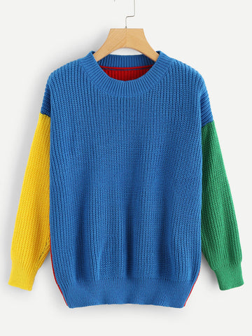 Color Block Cut And Sew Sweater