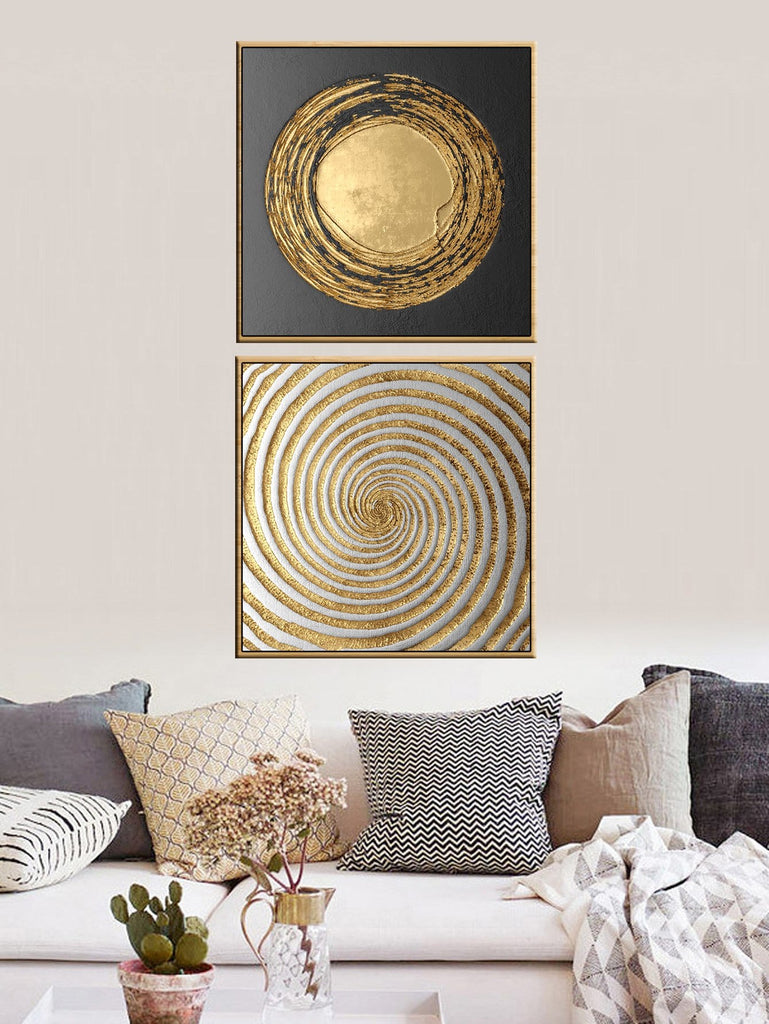 Metallic Spiral Cloth Art Print Set of 2