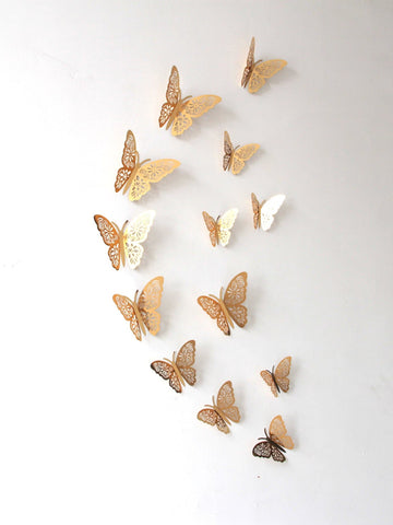 Gold 3D Butterfly Wall Stickers 12 Pack
