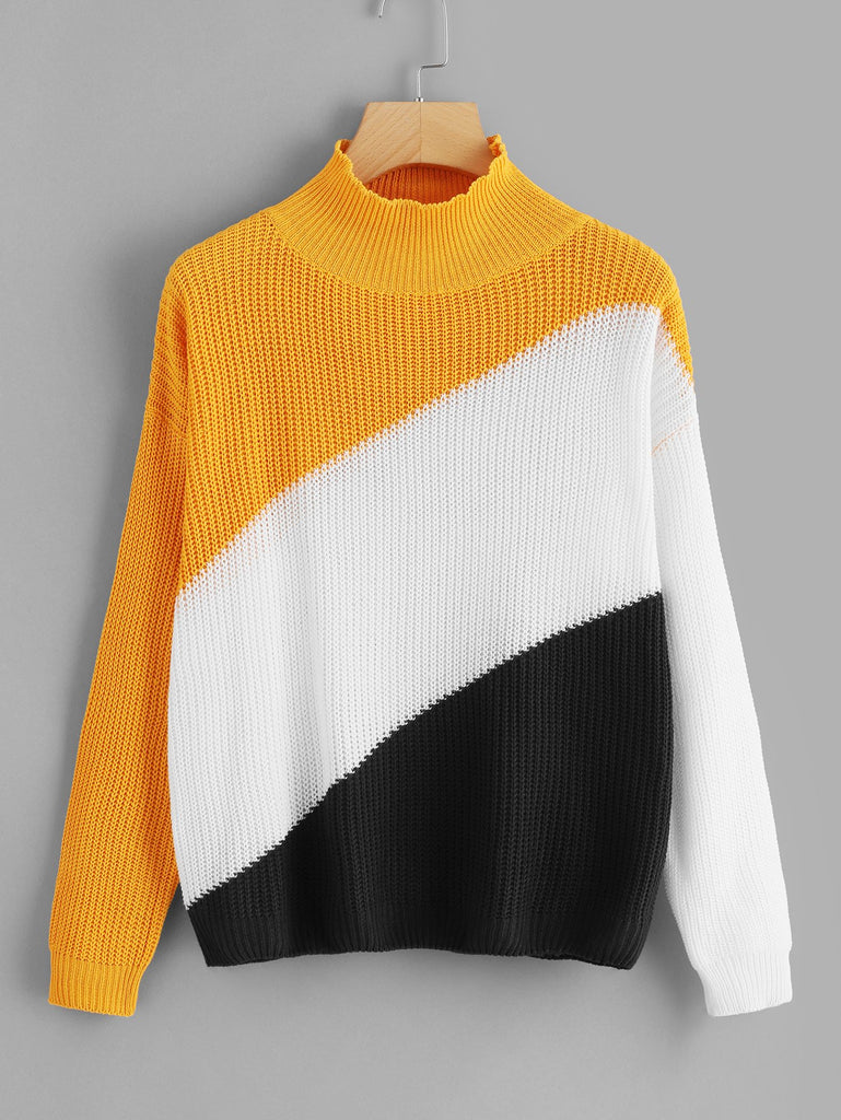 Color Block Sash Sweater
