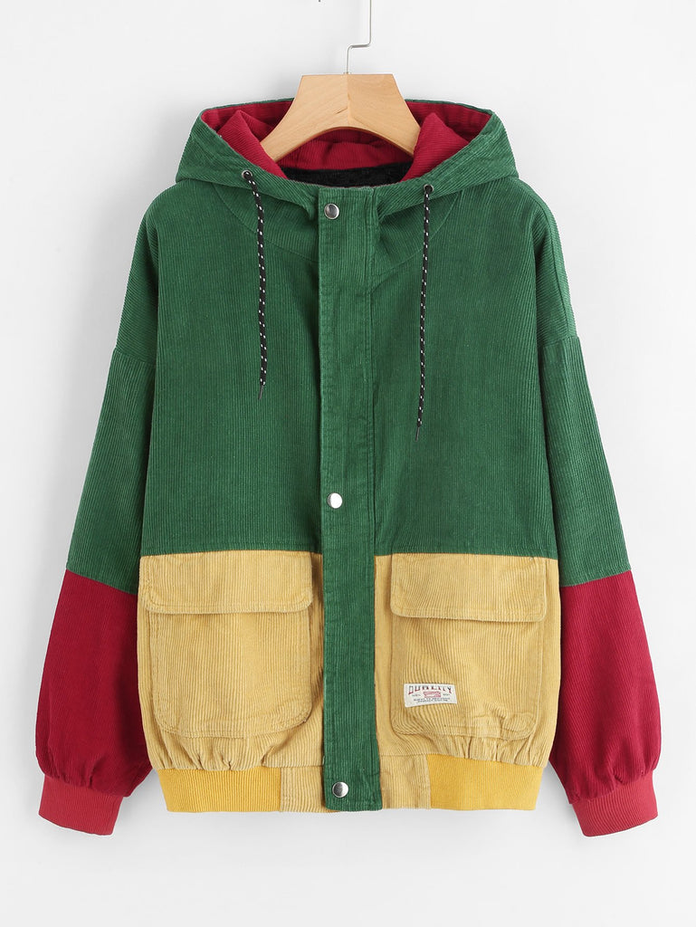Corduroy Color Block Hoodie Jacket