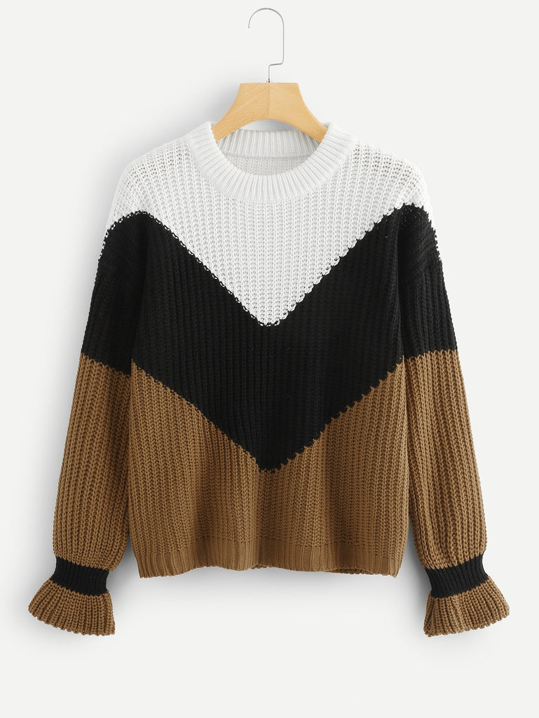 Bell Cuff Chevron Knit Sweater