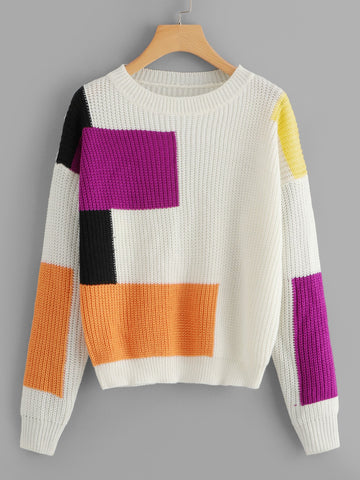 Bold 80s Color Block Sweater