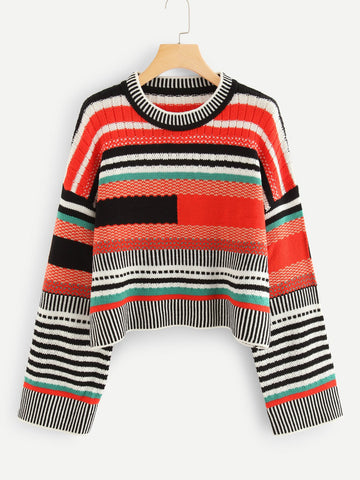 Motherland Stripe Crop Sweater