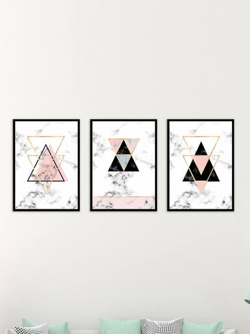 Pink + Black Geometric Marble Cloth Art Print Set