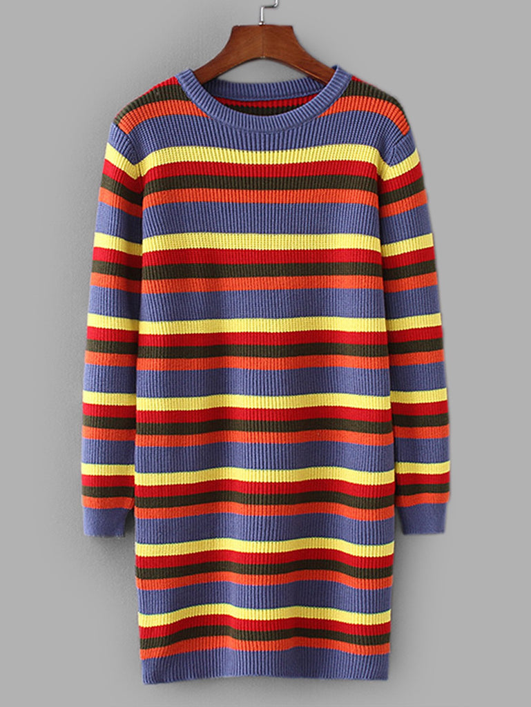 Colourful Striped Sweater Dress