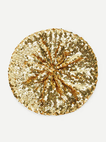 Sequin Tam Beret in Gold