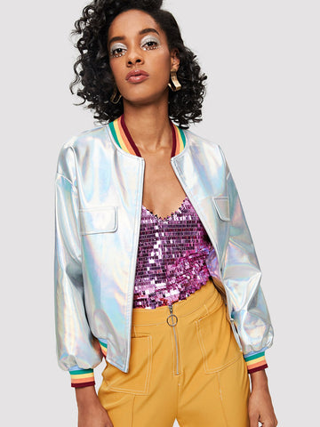 Striped Cuff Iridescent Vegan Leather Jacket