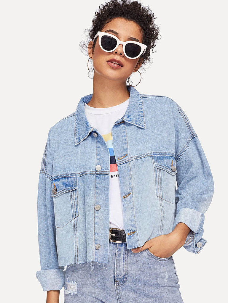 Crop Cuff Denim Jacket