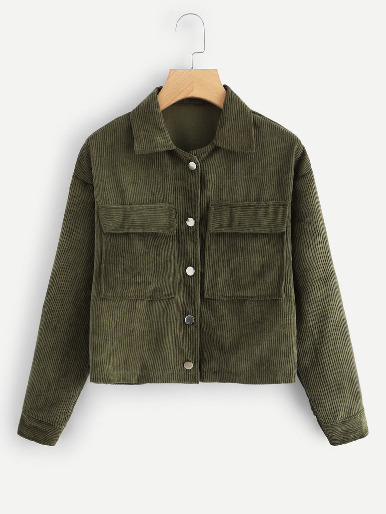 Corduroy Big Pocket Jacket in Army