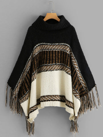 Fringe Trim Poncho Sweater