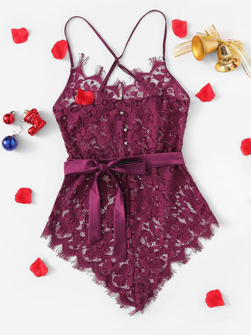 Holiday Collection Burgundy Lace Teddy Romper