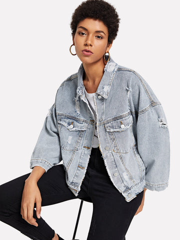 Ripped Denim Swing Jacket