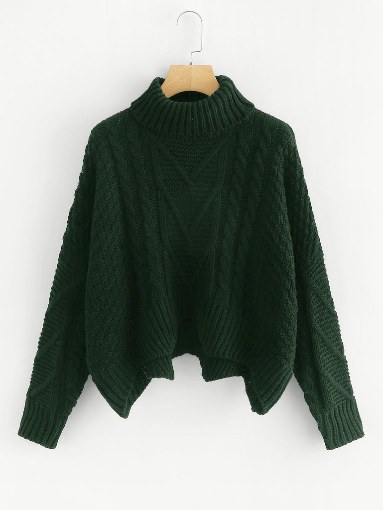 Asymmetrical Hem Knit Sweater