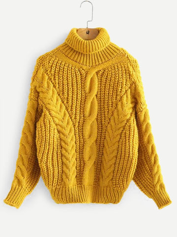 Golden Turtle Neck Cable Knit Solid Sweater