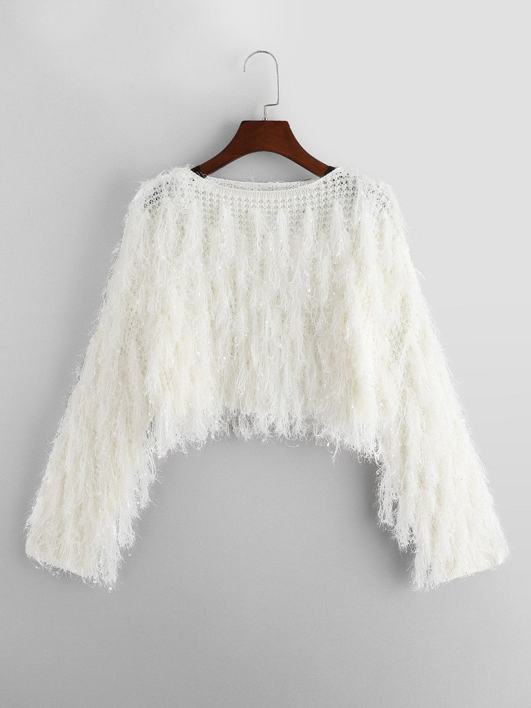 Faux Fur Fringe Crop Sweater
