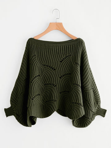 Eyelet Batwing Sweater