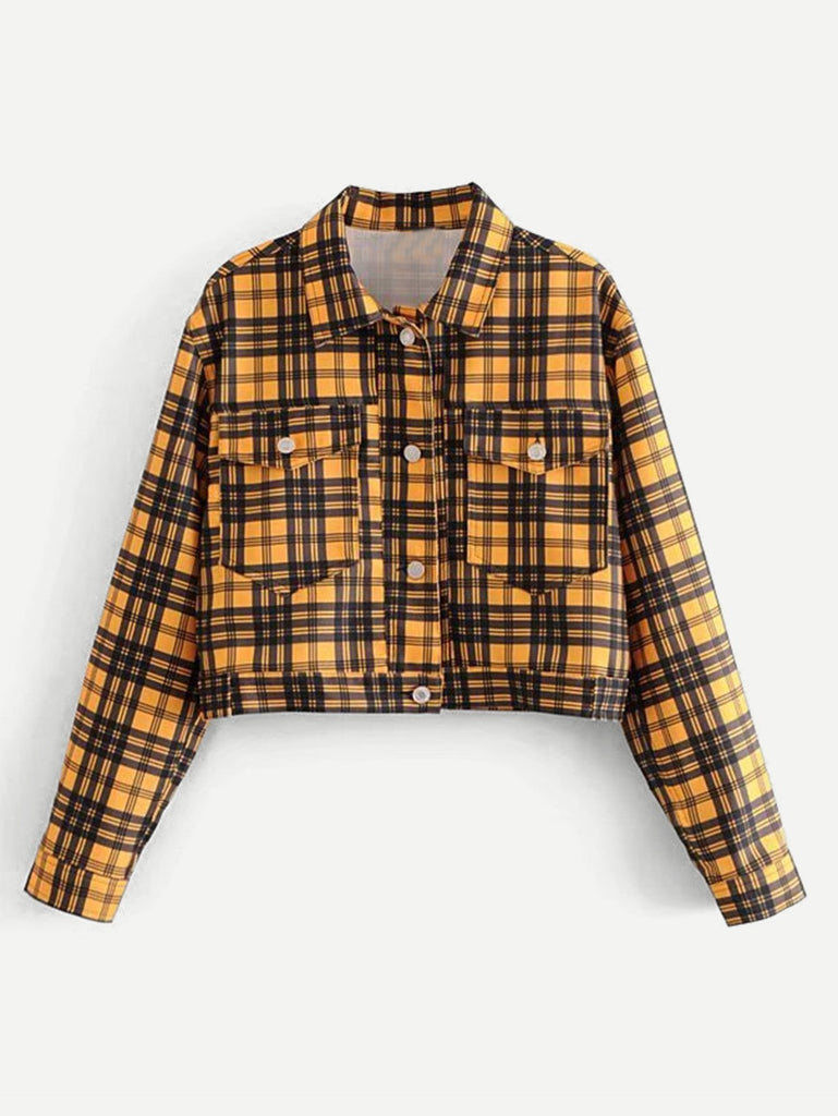 Pocket Front Plaid Jacket
