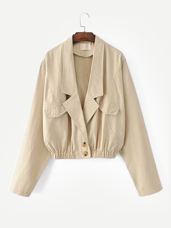 Low Lapel Khaki Bomber Jacket