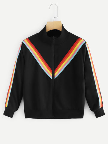 Retro Rainbow Varsity Jacket