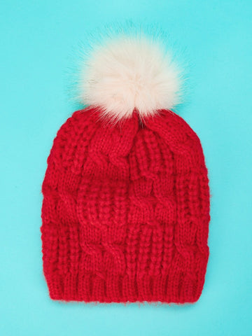 Holiday Pom-Pom Cable Knit Beanie