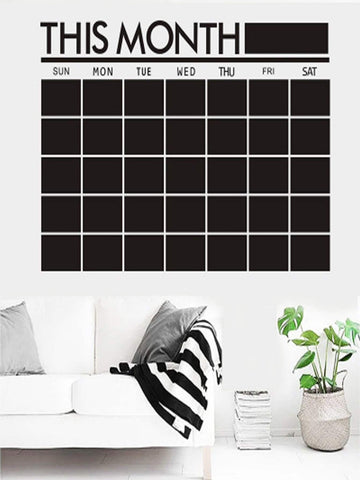 Monthly Calendar Chalk Board Wall Decal