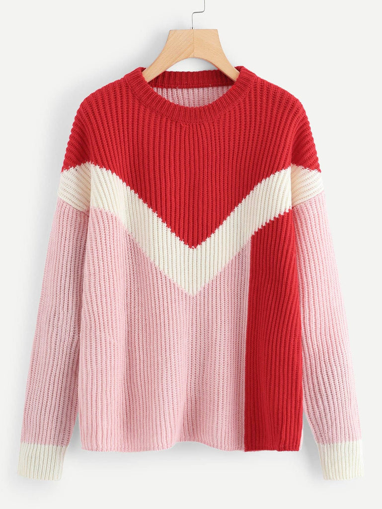 Color Block Heartstring Sweater