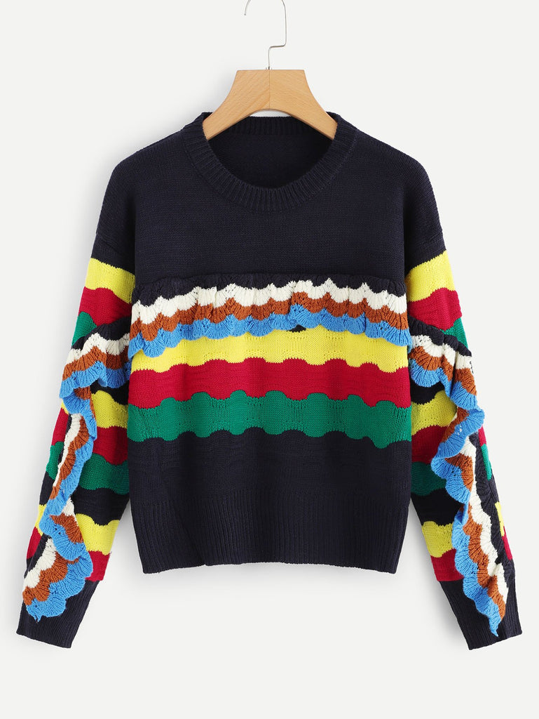 Ruffle Rainbow Color Block Sweater