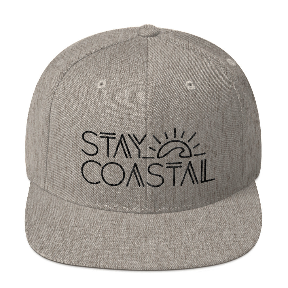Heather Grey Embroidered Wool Snapback