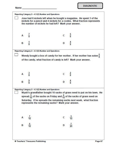 4th Grade STAAR Math Test Prep - TeachersTreasures.com