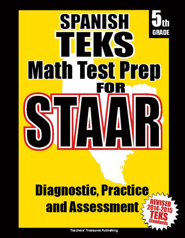 5th Grade STAAR Math Test Prep Spanish Version - TeachersTreasures.com