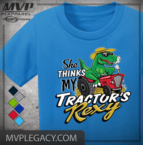 baby SHE THINKS MY TRACTOR'S REXY tee