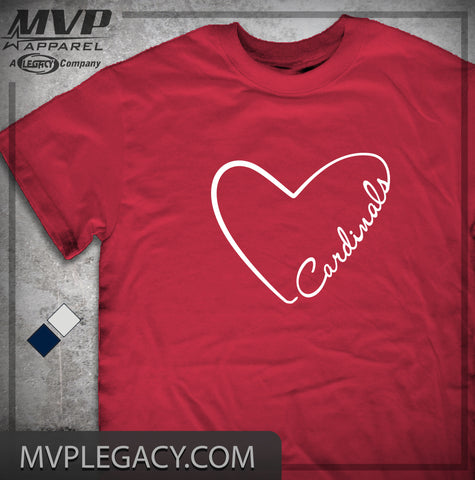 Cardinal-Cardinals Heart T-shirt, Love STL Cards Shirt