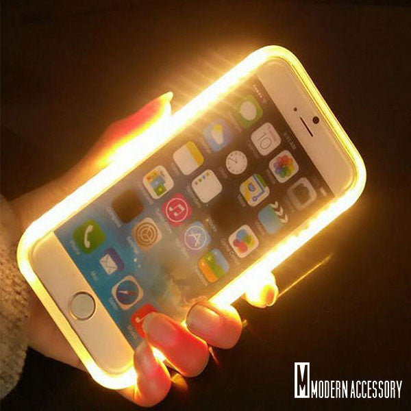 Modern LED iPhone Selfie Case w/Power Bank