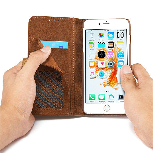Retro Flip Leather iPhone Cover w/Stand