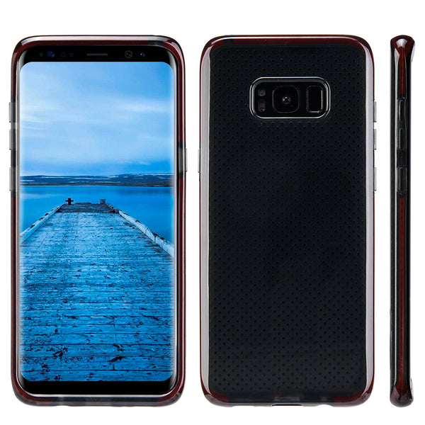 Samsung Galaxy Contempo Series Anti-Shock TPU Case Black Tinted With Red Inner Border