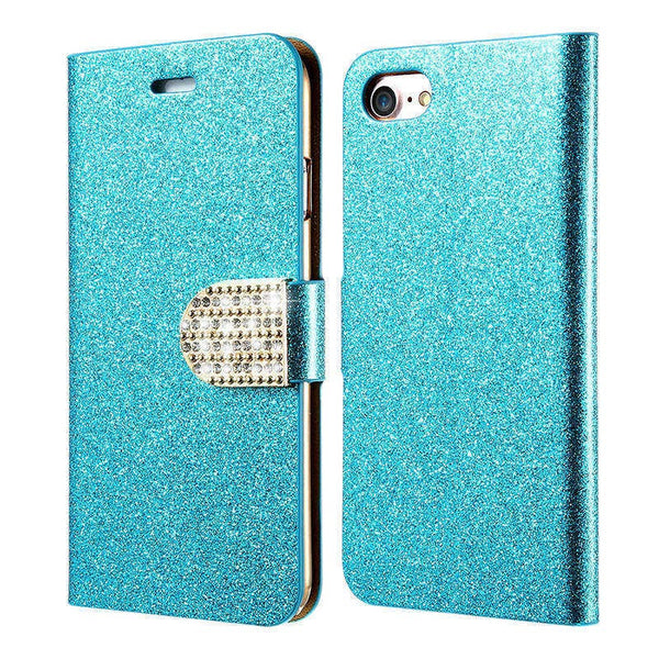 Glitter Rhinestone Wallet Kickstand iPhone Case