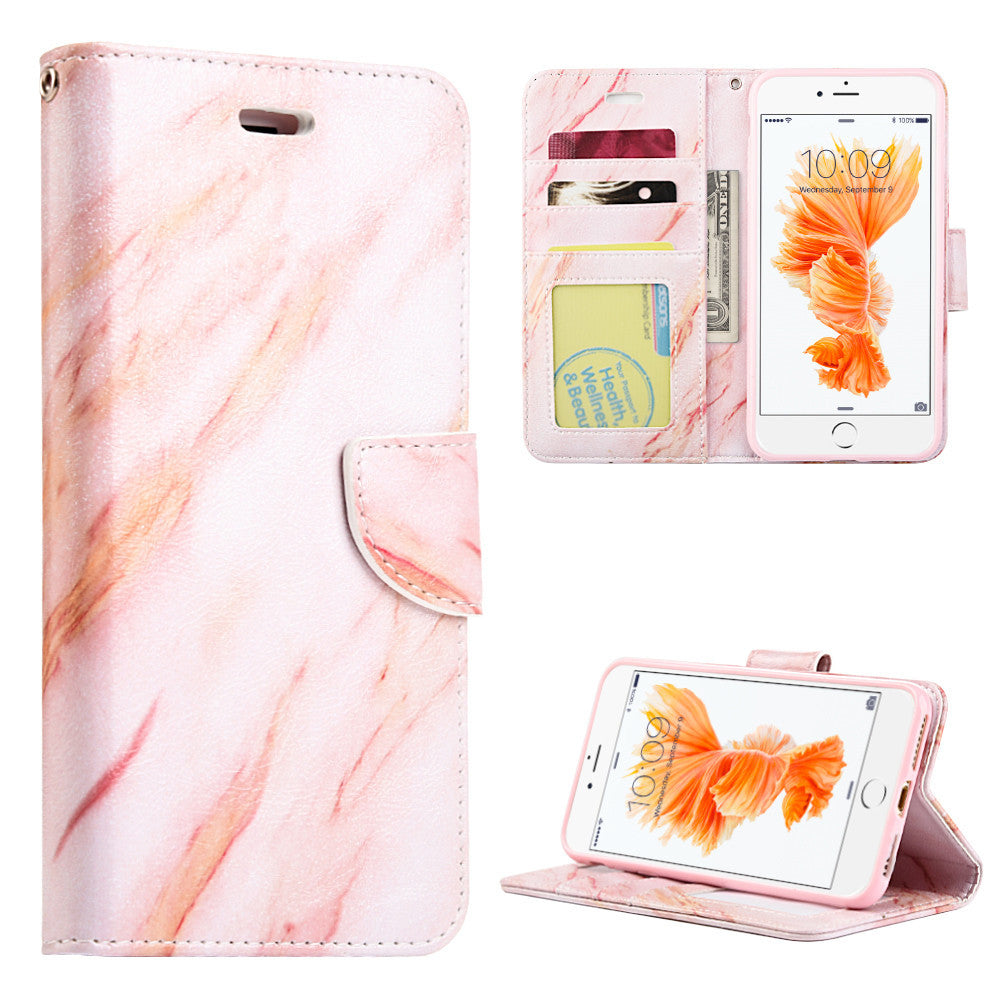 Apple iPhone7 Marble Wallet Pouch Case With Card Slots