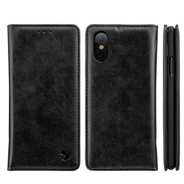 Apple iPhone 7/7 Plus/8/8 Plus/X Luxury Gentleman Magnetic Flip Leather Wallet Case
